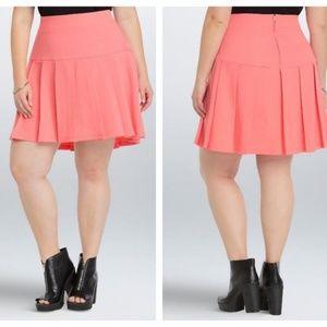 Torrid Sunkist Coral Pleated Mini Skirt